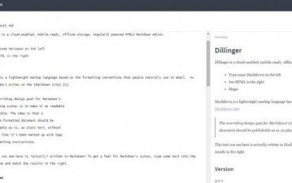 dillinger, un editor online de Markdown, opensource, en HTML5