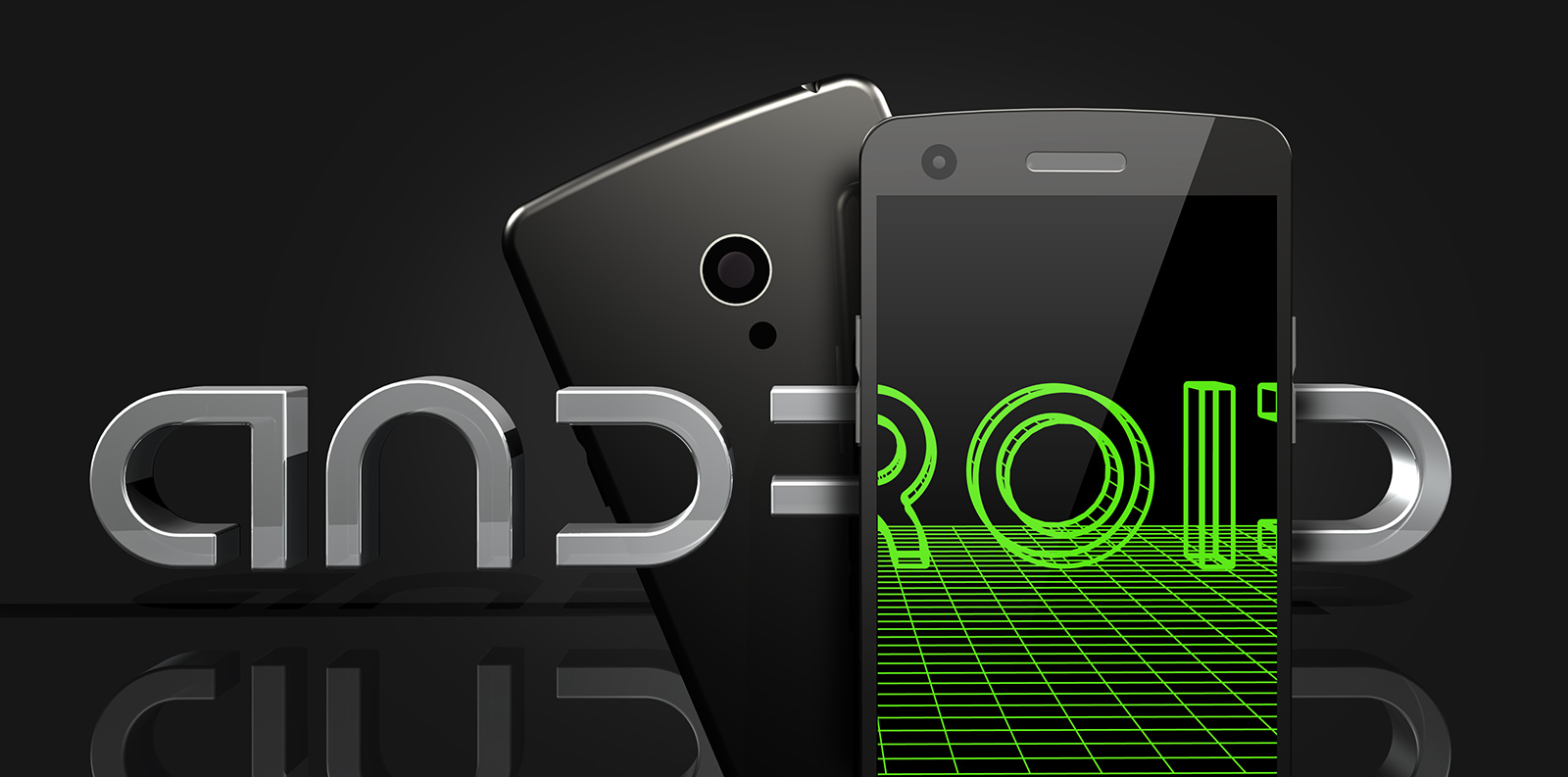 3d illustration of a smartphone placed in front of a chrome metal android logo with the screen revealing a green wireframe